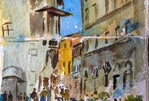 Painting Holidays in Italy / Learn to draw, paint or brush up on your painting skills on our painting holidays in Italy. Alan teaches guests how to capture the light and landscape of the stunning  surroundings. Non painters also very welcome to join us. www.reedartholidays.com