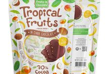 Dark Chocolate Tropical Fruits, 3.5 Oz Bag / Enjoy a chocolaty Tropical surprise that's one of a kind! The exquisite combination of fine dark chocolate and delicious bits of crispy freeze dried tropical fruits (mango, banana, coconut) creates a distinctive flavor.