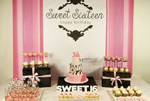 Sweet Sixteen Dessert/Sweet Table / Sweet Sixteen dessert/sweet table. Styling, decoration, sweets and pictures by Masterpiece Of Cake.