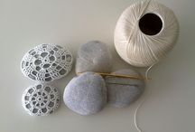 crochet lace covered stones