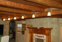 Faux Ceiling Beams / Rustic Faux Beams in a Tuscan Style Wine Cellar.
