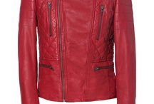 Coat leather red