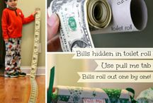 Dollar Bills rooled from a toilet paper roll
