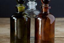 Frascos antiguos de medicamentos