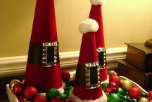 Centros de mesa conos papa Noel