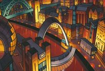 Jim Edwards / Jim Edwards is best known for his depictions of iconic buildings and bridges of the North East of England. His Newcastle Cityscapes are some of the most recognisable art to come out of the region in recent years. His work falls into two genres, contemporary cityscapes and abstract paintings inspired by manmade forms and buildings. Both styles follow a theme of architecturally inspired structures and dominating linear form.