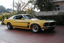 1969 Mustang BOSS 302 / Produced from 1969 to 1970, this pony had 	302 cu in (4.9 L) V8 engine with output of around 290 HP with 4 speed manual transmision.