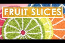 How to knit fruit slices.