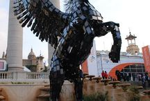 Pegasus Sculpture Made From 3500 Phones