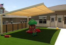 Shaded Play areas that are safe for small children! / A great project for little ones to play safely in the shade! This is a Goddard School in Round Rock, Texas