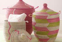 Baskets, ceramics, glass