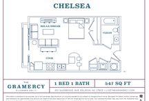 Floor Plans / Studio, One and Two Bedrooms