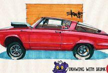 Car drawings on paper by Skunk