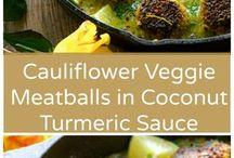 Cauli meatballs in coconut turmeric sauce