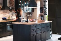 Get The Look > Dark Wood Shaker Kitchen / If you like IKEA's Metod Laxarby Black-Brown dark wood kitchen, then this is how you can 'get the look'. From cabinets and worktops to floors and lighting - here's how to get the dark wood shaker kitchen style.