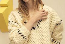 Knit cardigan sweater.