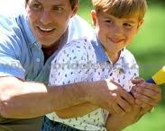 Father spending time and guiding children / The importance of father in children's life