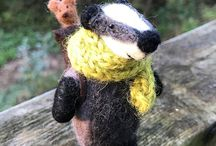 Needle Felted Badgers