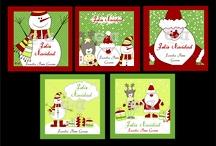 Tarjetas _ Navidad / Tarjetas personalizadas para la temporada decembrina en papel glacé o papel autoadhesivo, tamaño 5×5 cms. Caja por 20 unidades minimo. / by G+D Gráfica + Diseño