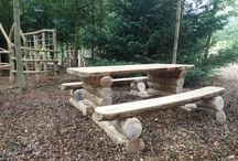 Wooden Seating & Rustic Picnic Areas / We like to make natural seating and picnic areas from wood so that they blend seamlessly with the natural environment. See more here: http://www.thewilddeckcompany.co.uk/product-portfolio/picnic-areas-and-seating/