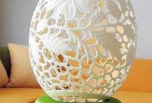 ostrich egg carved - strusie jajko egg / ażurowe ,rzeźbione strusie jajo autor Bogusława Justyna Goleń