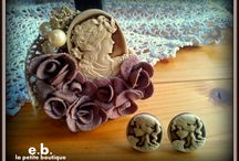cameo pin and earings