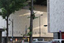 Semba center building, Osaka / Samuli Naamanka's impressive Kimono pattern rejuvenates the Semba Center Building in Osaka