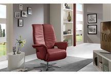 Modern Genuine-Leather Wine Accent Chair