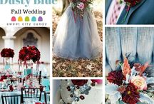 Dusty Blue and Cranberry Wedding