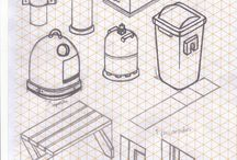 Isometric sketches, drawing