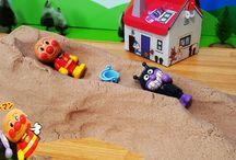 アンパンマンおもちゃアニメ❤砂遊び すべり台を作ってみた! Toy Kids トイキッズ animation anpanman