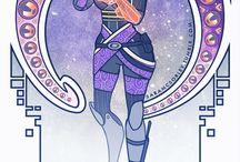 Art Nouveau Videogame Characters by Mwar