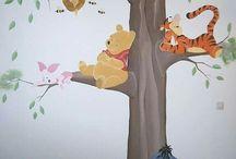 Muurschilderingen Winnie the Pooh en Tijgertje