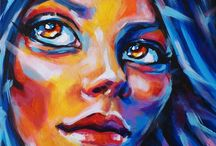 Faces / Acrylic paintings of colorful faces
