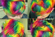 Rainbow / Rainbow and funky hair color ideas. Especially pixie and short hair cuts.