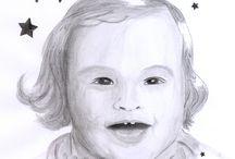 Portrait handgezeichnet / portrait, handgezeichnet, bleistift, leinwand, mann, kind, frau, geschenk, valentinstag, individuell, hochzeit, zeichnung, schwarz weiß, geschenkidee, gouache, illustration, auftrag, kommunion, konfirmation