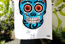 TORCHONS TETMEX / Les torchons TETMEX sont inspirés des cavaleras, têtes de mort mexicaines. The TETMEX kitchen towels are inspired by cavaleras, mexicans skulls.