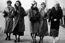 The 1930's / Tailored suits, long narrow coats, furs, white gloves, evening dresses with matching jackets, mid-calf lenght skirts, white shoes, barets, two piece swimsuits, turbans, hats worn at a jaunty angle, raspberry lips, wider heels, light pink cheeks... Sources: glamourdaze.com; myvintagevogue.com; wikipedia.com; uvm.edu; vintagemakeupguide.com / by Evy C.