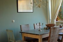 living room blue green/ cornforth white