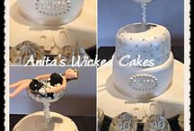 40th silver female 2 tiered cake