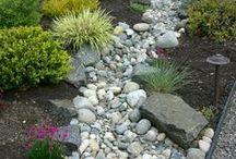 stair, deck, rocks