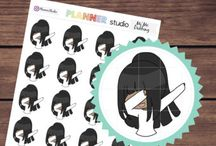 Cute girl planner stickers