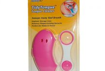 TidyTongue & TidyTube / A Tongue Cleaner that sweeps away bad breath and a Tube Squeezer that helps to save paste and avoid waste.