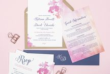 Design suite // Blossom wedding stationery collection / Pink floral watercolour wedding stationery from the Blossom collection by Project Pretty. Matching items include invitations, save the date cards, menus and table plans