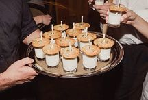 Late Night Snacks / Late nights snacks for weddings and events: milk and cookies, sliders, soup shots, cake to go