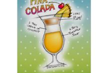 PINA COLADA RECIPE Cocktail Art & Gifts / A colorful drawing of a classic PINA COLADA with Ingredients & Ratios on Prints, Clothing, Stationery as well as Tools and Decor for Bar, Home, Office & Gifts.