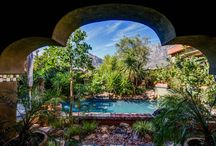 Pool Areas / Tropical-looking swimmingpools, Bohemian colors and style www.villaflores.co.za