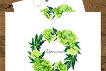 Zaproszenia ślubne z zielonymi peoniami / Zaproszenia i dodatki ślubne w kolorystyce zieleni.