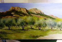 Le rocher de roque brune et les oliviers. 80x40
