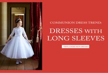 Communion Dresses with Long Sleeves / Communion Dresses with Long Sleeves - First Communion Dresses with Long Sleeves - Long Sleeve Holy Communion Dresses for Girls - White Long Sleeves Communion Dress - Half Sleeve, 3/4 Sleeve Lace, Satin, Organza Sleeves